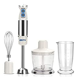 Image of BSTY 5-in-1 Hand Blenders Set 15-Speeds Powerful Immersion Blender with 500-Watt Motor and Turbo Boost Button for Maximum Power,Hand Held Blenders: Bestviewsreviews