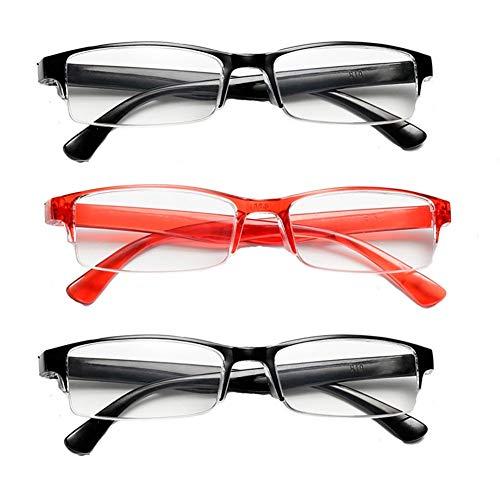 JTeam Fashion Lesebrille 3 Paar Halbrand Brille Ultraleicht Wiegt Nur 17g Herren Und Damen Brille (Color : 2Black 1Red, Size : 2.50X)