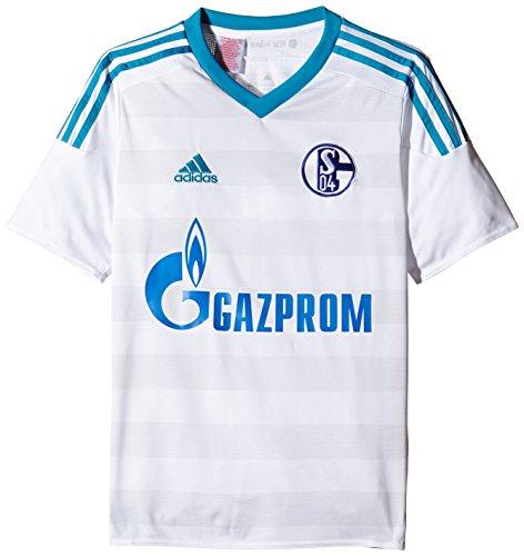 adidas Herren Kurzarm Auswärtstrikot Schalke 04 Replica, White/Bold Aqua/Clear Grey, L