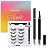 Magnetic Eyelashes and Eyeliner Kit -Magnetic Eyelashes With Natural Look - Magnetic Eyelashes with Eyeliner Comes With Applicator, Updated No Glue 3D Reusable Silk False Eye Lashes| 5 Pairs