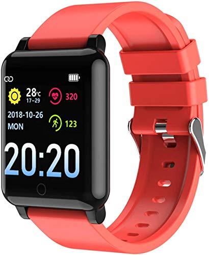 Reloj inteligente con monitor de ritmo cardíaco, podómetro, resistente al agua, IP67, con contador de calorías, cronómetro, rastreador de actividad, para iOS, Android, rojo y rojo