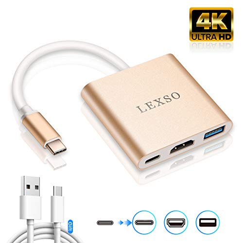 USB C HDMI Adapter 4K Kabel,Typ C Hub zu HDMI Multiport AV Converter mit USB 3.0 Ladeanschluss kompatibel mit MacBook Air/Chromebook Pixel/Dell XPS13/HUAWEI Mate20 、Samsung Galaxy Note 10/s9 Plus