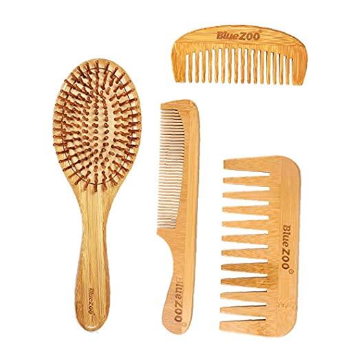 EElabper Cepillo de peluquería Peine del Pelo de bambú Conjunto de bambú Natural Peine de Madera para el Juego de Pelo Masaje Eco-amigable para Adultos Cuentos para niños 4PCS Amarillo