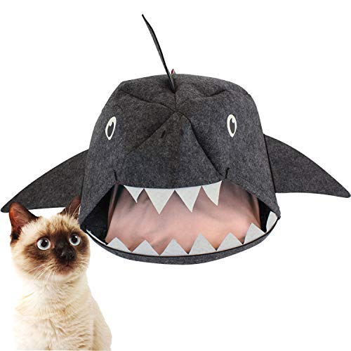 American Cat Club Baby Shark Cave Felt Pet Bed House for Cats & Dogs, Gray