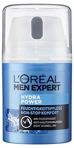 L\'Oréal Men Expert Hydra Power Feuchtigkeitspflege, mit Mountain Water sensible Männerhaut zieht schnell und ohne Rückstände ein ohne fetten (50 ml)