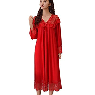 Women's Victorian Vintage Nightgown Lace Sleepwear Sexy Lounge Dress Long Sleeve Pajamas