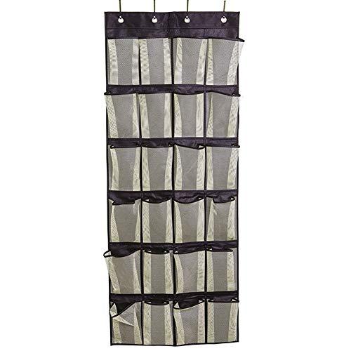 Bolsa de almacenamiento colgante Colgante de casillero con bolsa de almacenamiento de zapatos bastidor de almacenamiento en la puerta Organizador de ropa que ahorra espacio ( Color : Black 24 Pocket )