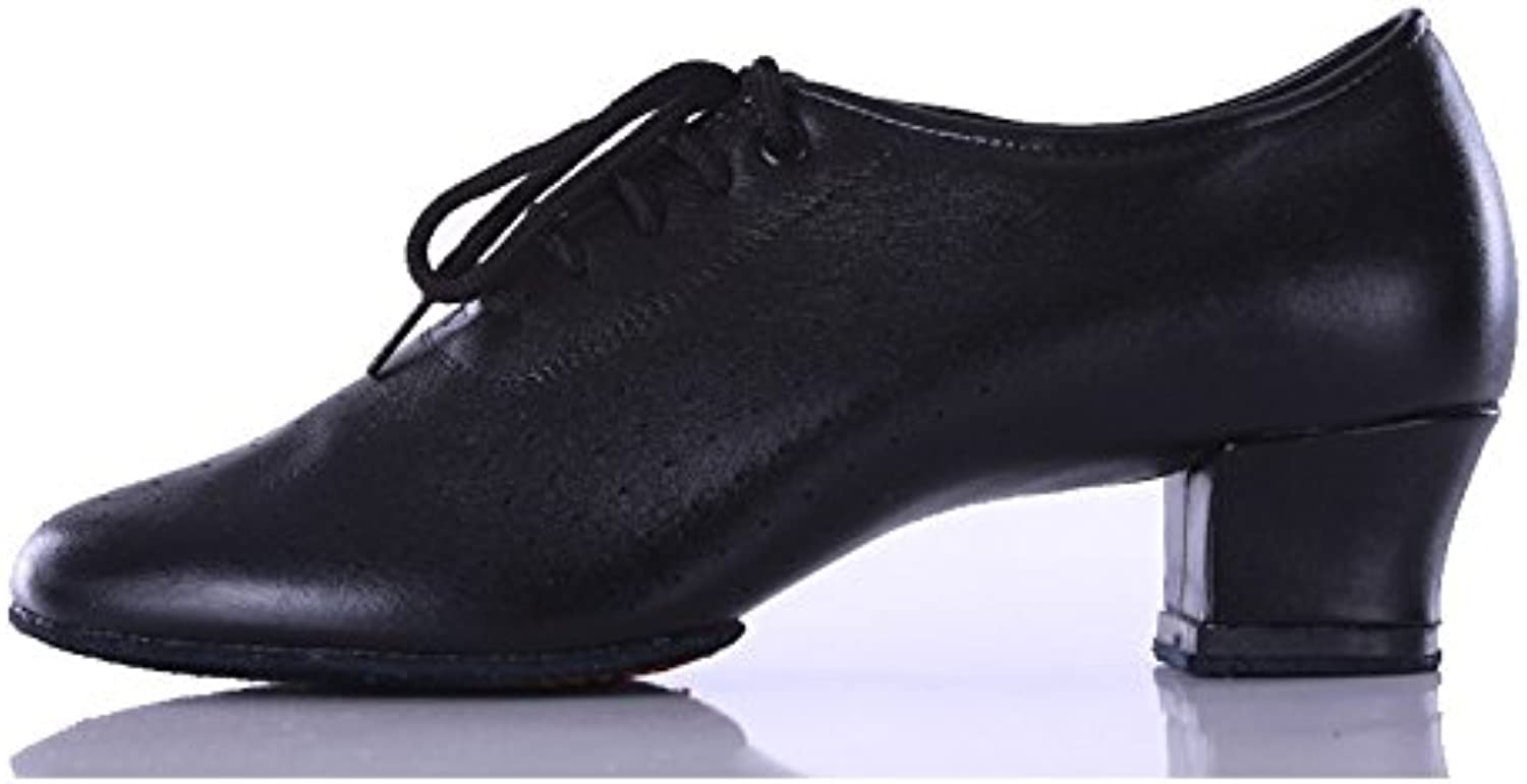 Ruiyue Professional Latin Dance shoes, Ballroom Dancing shoes Teachers shoes Black Genuine Leather Cowhide shoes for Female