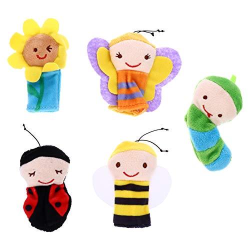 TOYMYTOY 5 Piezas de Marionetas de Dedos de Insectos Figura de Animales de Peluche Muñeco de Mano Marioneta de Juguete de Interacción Padre-Hijo Regalo de Pascua para Niños Pequeños 8Cm