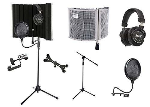 LyxPro VRI 30 Portable Acoustic Isolation Instrument Shield, Sound Absorbing Panel with Tripod Microphone Stand, Universal Smartphone Tablet Holder, Studio Monitor Professional Headphones & Pop Filter