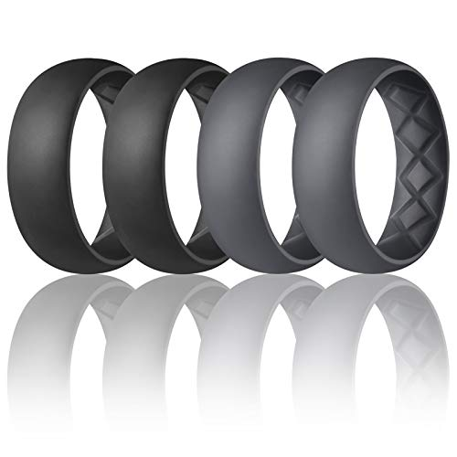 Egnaro Silicone Rings for Mens with Half Sizes, Inner Arc Ergonomic Breathable Design Silicone Wedding Band, 8.5mm Wide - 2.5mm Thick