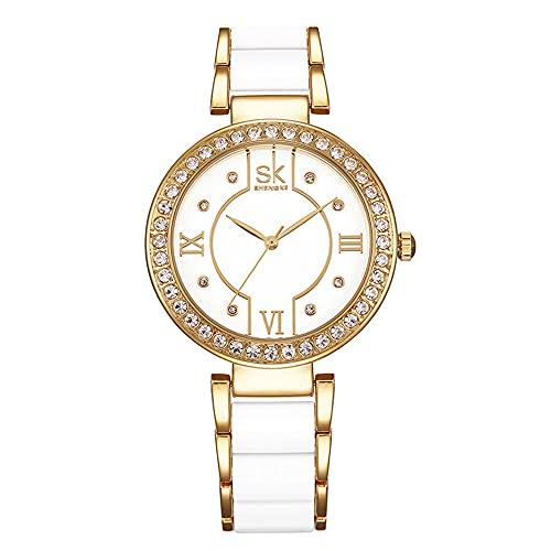 KLFJFD Reloj De Cuarzo Resistente Al Agua con Diamantes De Imitación De Lujo Ligero A La Moda para Mujer