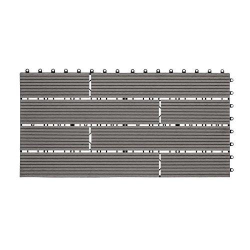 WPC Holz Kunststoff Fliesen Terrassenfliesen Klickfliesen Balkonfliesen 1 Stück (30 x 60 cm Versetzt, Grau)