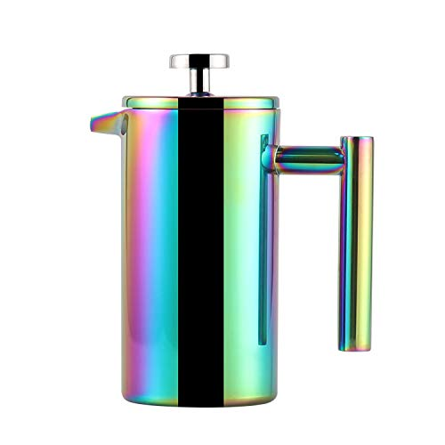 Highwin Small Stainless Steel French Press - 3 Cups (4oz Per Cup) Coffee Plunger Press Pot - Best Tea Brewer Maker - Double Walled, Unique Dual-Filter, Individual Serving, Rainbow