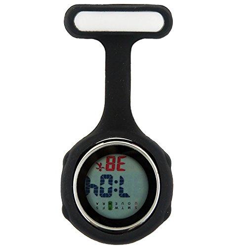 Topzilly Schwarze Digitaluhr, für Krankenpfleger, Unisex, multifunktional, aus Silikon