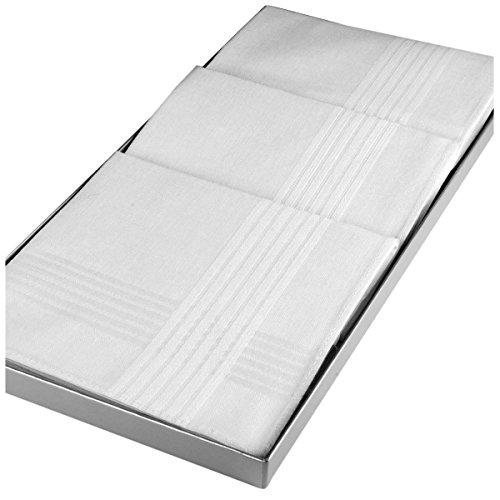 Merrysquare - Mouchoirs Blancs en Coffret - Modèle Clément - Grande Taille 41 cm x 41cm - Coffret de 3 unités - 100% Coton