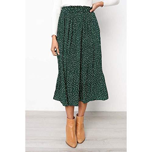 YYH Dames-rok witte stippen bloemenprint gevouwen midi-rok vrouwen elastische hoge taille zijzakken rok zomer 2020 elegante vrouwelijke bottom Medium groen