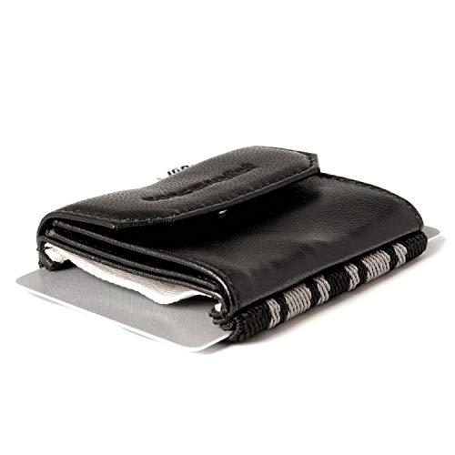 Space Wallet Push I Mini Portemonnaie für Damen & Herren I Kleine Echtleder Geldbörse I Geldbeutel & Kartenetui für 15 EC-Karten/Kreditkarten + Münzfach I Business Black