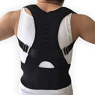 Male Female Adjustable Magnetic Posture Corrector Corset Back Brace Back Belt Lumbar Support Straight Corrector de espalda S-XXL : Black, XL