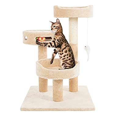 PETMAKER Cat Tree 3 Tier 2 Hanging Toys A 3 Ball Play Area and Scratching Post, 27.5 , Tan
