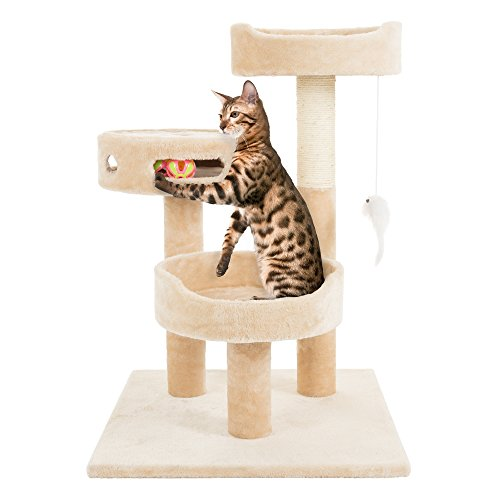 PETMAKER Cat Tree 3 Tier 2 Hanging Toys A 3 Ball Play Area and Scratching Post 275quot Tan