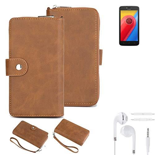 K-S-Trade Handy-Schutz-Hülle Für Lenovo Moto C LTE + Kopfhörer Portemonnee Tasche Wallet-Hülle Bookstyle-Etui Braun (1x)