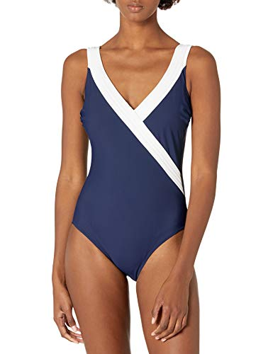Gottex Women's Standard Piped Surplice One Piece Swimsuit, Prime Navy/White-Extra Coverage, 38