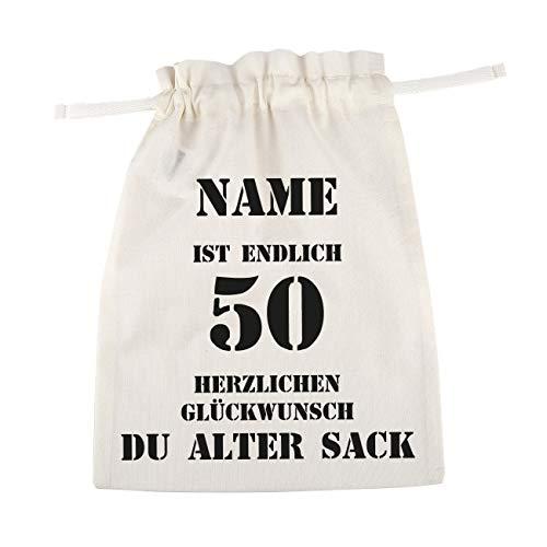 Herz & Heim® bedruckter Baumwoll Geschenkbeutel - Alter Sack - mit Namen des Geburtstagskindes 50. Geburtstag