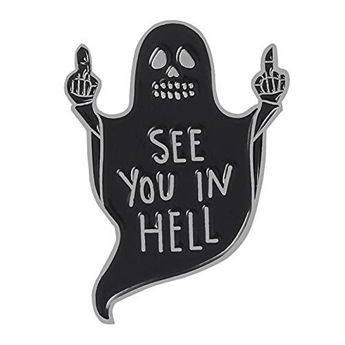 Negro fantasma dedo medio desprecio gesto Pins See You In Hell Badge...