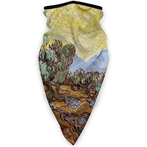 Multifunktionales Kopftuch, Motiv: Olivenbäume mit gelbem Himmel und Sonne, UV-beständig, elastisch
