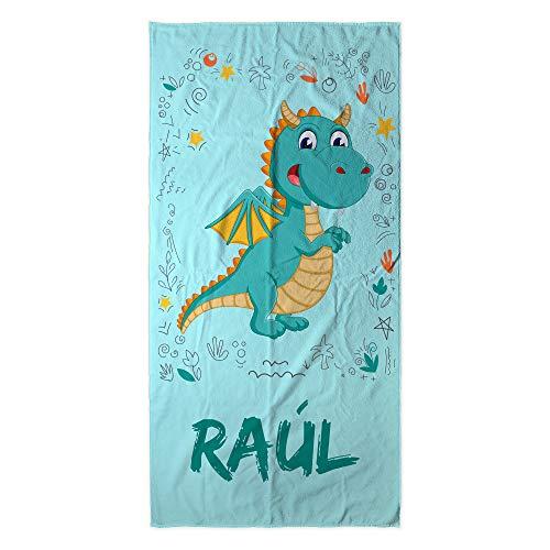 LolaPix Dinosaurier Personalisiertes Strandtuch mit Namen oder Text. Kinder Strandtuch Jungen und Mädchen. Pool Beach Camping. Verschiedene Designs und Größen. Drache
