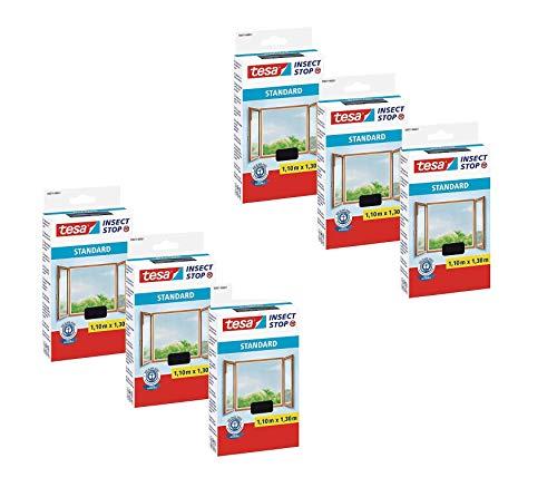 tesa® Insect Stop STANDARD Fliegengitter für Fenster - Insektenschutz zuschneidbar - Mückenschutz ohne Bohren - Fliegen Netz anthrazit, 110 cm x 130 cm (6)