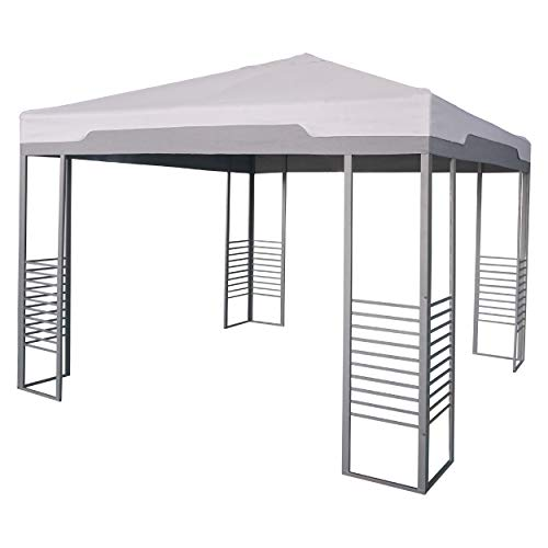 Pavillon Rigolet Grau 299 cm x 299 cm | Pavillion im modernen Stil mit flachem, quadratischem Spitzdach