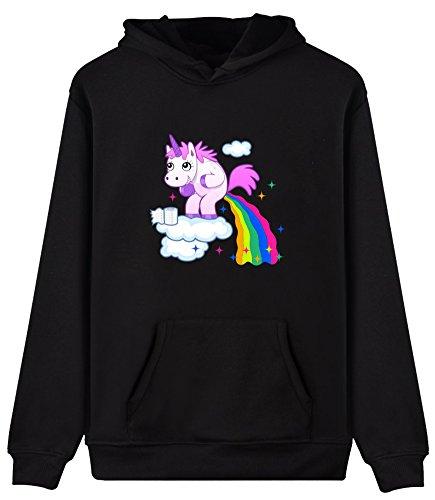 EUDOLAH Damen Hoodie Einhorn Sweatshirt Pullover Sport Regenbogen-Schwarz Gr.XL