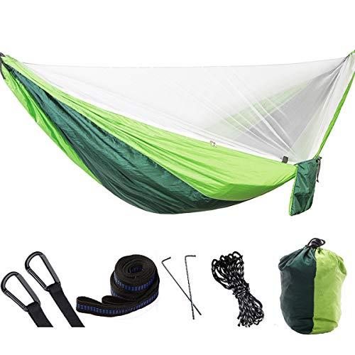 Camping Hammock Double Lightweight Nylon Portable Parachute Hammock Automatic with Mosquito Net Outfitters for Indoor ,Outdoor , Hiking,Beach ,Backpacking ,Survival & Travel Swing (Dark Green & Green)