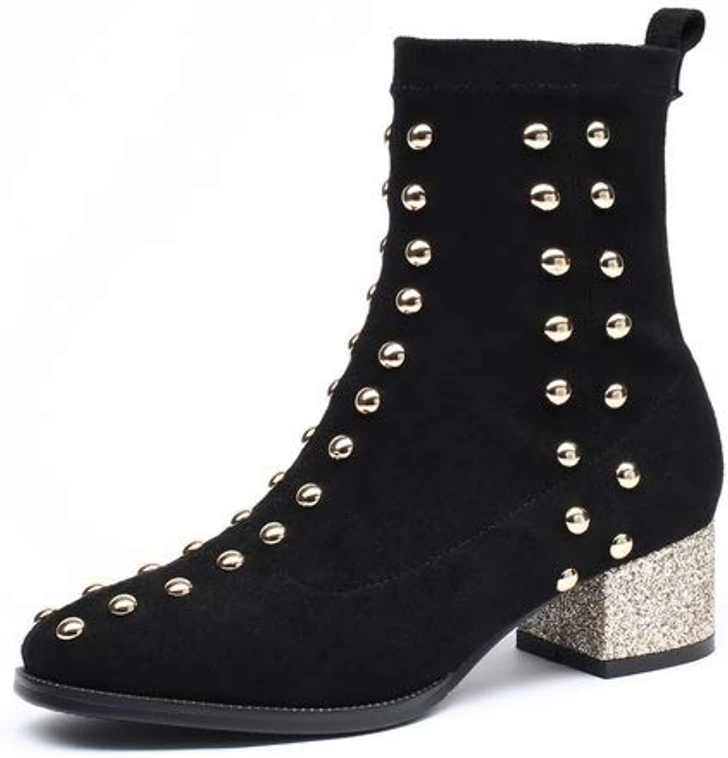 1TO9 Womens Chunky Heels Studded Imitated Suede Boots MNH03811