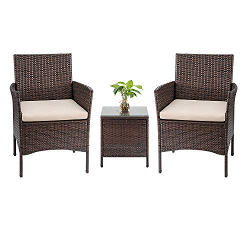 Tozey 3 Pieces Patio Furniture Sets PE Rattan Outdoor Conversation Set with Table Backyard Porch Garden Poolside Balcony (Brown)