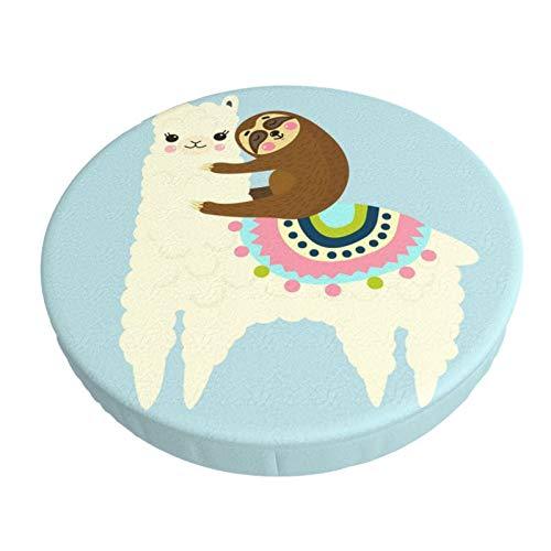 Round Bar Stool Cushions Covers Cute Cartoon Llamaalpaca And Sloth Best Friends Non Slip Round Seat Cover Protector Stretch Barstools Velvet Slipcover For Circle Medical Spa Drafting Work Massage Chai