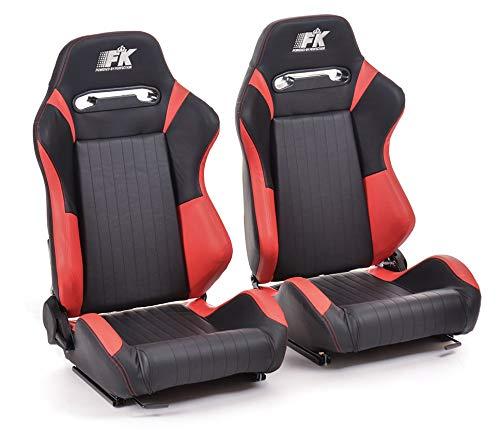 FK ergonómico asienta medio cubo asientos fijados Frankfurt cuero artificial negro/rojo