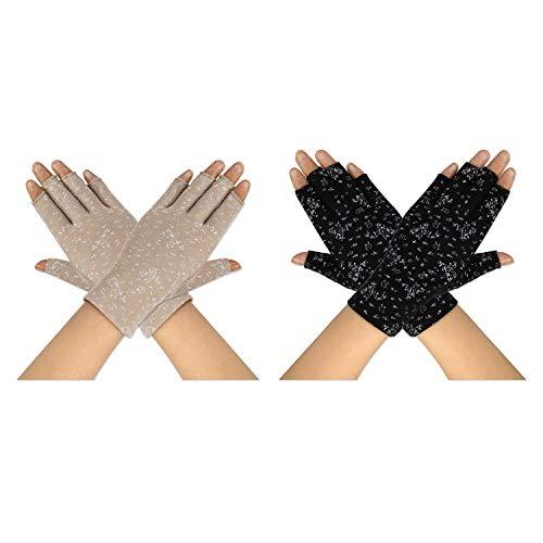 MaoXinTek Fahren Handschuhe für Damen UV-Schutz Dünne Fingerlose Sonnenschutzhandschuhe Kurz und rutschfest, speziell für Mädchen Dame Sommer Outdoor Radfahren Angeln Golf (2 Paar)