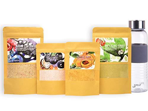 Superfood Smoothie Pulver Mix und Toppings | 4er Probierset + Smoothieflasche | Jeweils 7 Portionen | Rein pflanzlich & natürlich | 100% Vegan | Matcha | Acai | Flohsamen | Acerola | Darmgesundheit