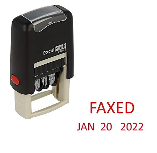 Faxed - ExcelMark Self-Inking Rubber Date Stamp - Compact Size - Red Ink