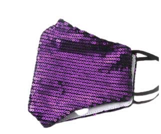 Fashion Sequin Glitter Cotton Masks for Women Filter Pocket and Filter Included | Glamour Masks (Purple)