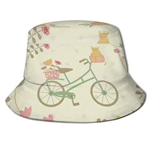 Gorra de Sol Vintage Bicicleta Gato Flores Corazones Cubo Sombrero para el...