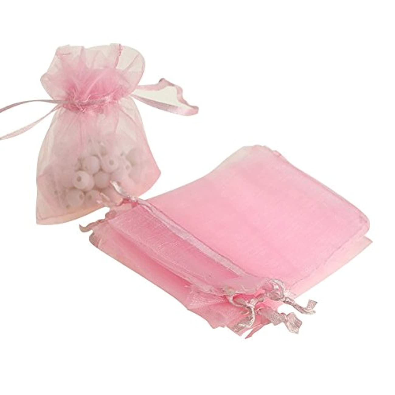 Tvoip Drawstring Organza Jewelry Favor Pouches Wedding Party Festival Gift Bags Candy Bags (Pack of 50) (Pink)