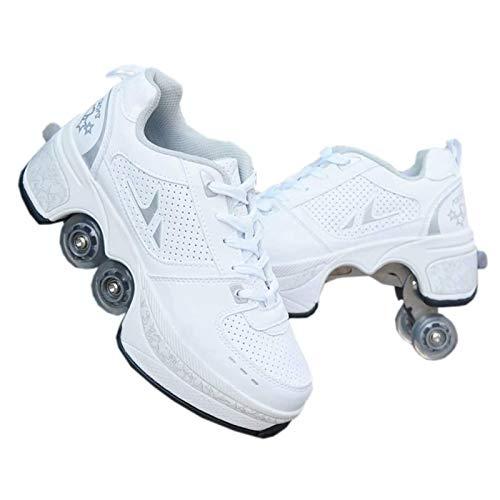 WWWlck Deformation Schuhe Kinder Studenten Rollschuhe Quad Skateboard Schuhe Skaten Outdoor-Sport Rollschuhe Faul Reisemodus,Weiß,35