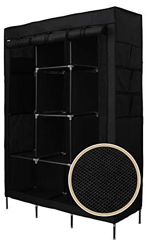 Best for Home XXL 175 x 130 x 45 cm Stoffschrank Kleiderschrank Faltschrank mit Kleiderstange CE-Zertifikat (Schwarz)