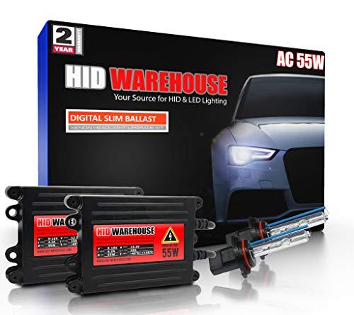 HID-Warehouse 55W AC Xenon HID Lights with Premium Slim AC Ballast - 9005 5000K - 5K Bright White - 2 Year Warranty