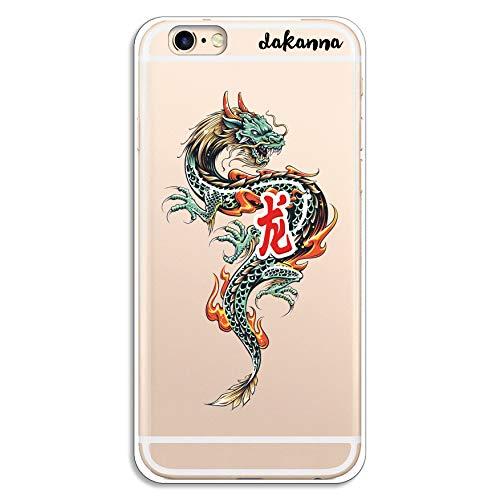 dakanna Custodia per iPhone 6-6S   Drago Asiatico   Cover in Gel di Silicone TPU Morbido di Alta qualità con Sfondo Trasparente