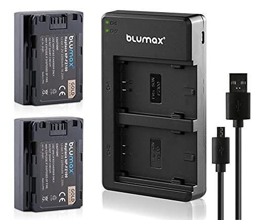 Blumax 2X Akku ersetzt Sony NP-FZ100 2250mAh + Dual-Ladegerät Doppel - kompatibel mit Sony Alpha A1 / ILCE 6600 / 7C 7R3, 7MK3 7III 7R IV/Alpha 9 II A9S A9R